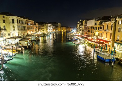 VENICE, Italy, JULY 12, 2014: Canal Grande in a summer night in Venice, Italy
