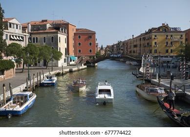 Venice, Italy - July 12, 2017 : View of Novo River