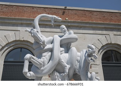 """Venice, Italy - July 12, 2017 :  Entrance of """"Treasure from the wreck of the unbelievable"""" by Damien Hirst at Punta della Dogana"""
