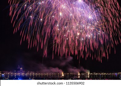 VENICE, ITALY - JULY 14:Fireworks over water during the celebrations of Redentore in Venice on july 14, 2018 in Venice, Italy.