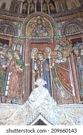 VENICE, ITALY - JULY 15, 2014: Exterior mosaic from st. Mark cathedral - Basilica di San Marco over the side portal.