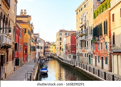 Venice, Italy - July 16, 2019: Houses on the embankments of the Canal rio Marin