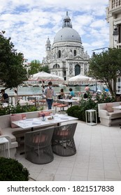 Venice, Italy - July 17 2020: The restaurant terrace at the St. Regis Venice hotel facing the Canale Grande