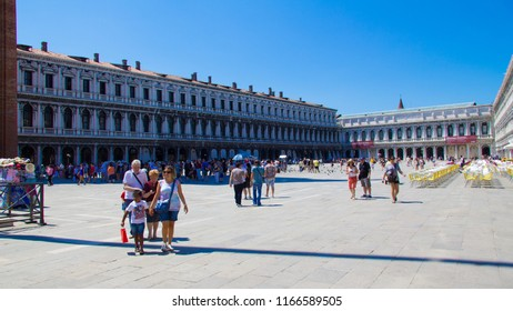 VENICE, ITALY - JULY 18 2014: Saint Mark's Square before it gets really crowded