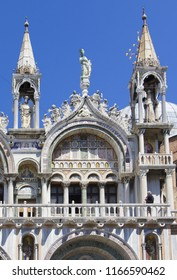 VENICE, ITALY - JULY 18 2014: detail of a balcony on Saint Mark's Cathedral