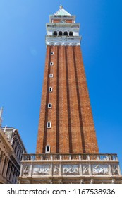 VENICE, ITALY - JULY 18 2014: the tower in Saint Mark's Square is 323 feet tall and has 5 bells