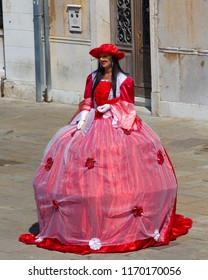 VENICE, ITALY: JULY 18 2014: one of the beautifully dress street performers in Venice