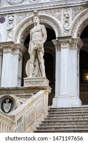 Venice, Italy - July 18th 2019: A statue of Mars - the Roman God of War, located at the Giants Staircase at the Doges Palace, also known as Palazzo Ducale in Venice, Italy.