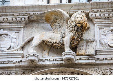 Venice, Italy - July 18th 2019: The Lion of St. Mark, or the Lion of Venice, located above the Giants Staircase at the Doges Palace, also known as Palazzo Ducale in Venice, Italy.