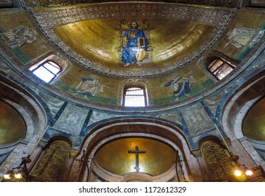 Venice, Italy, July 2017 - details of byzantine art at the Dome of the Basilica di San Marco