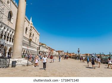 VENICE, ITALY - JULY 3, 2019: The Riva degli Schiavoni is a waterfront area in Venice, Italy.