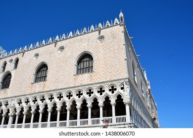 VENICE ITALY JUNE 01 2019: View of Doge`s Palace in Venice. It is one of the main tourist attractions of Venice.