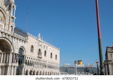 VENICE, ITALY - JUNE 02, 2017:   Big cruise ship crosses Grand Canal view from San Marco square.