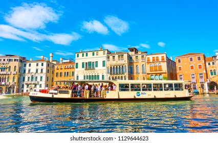 Venice, Italy - June 15, 2018: Venetian water bus Vaporetto on the Grand Canal in Venice