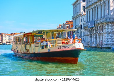 Venice, Italy - June 16, 2018: Venetian water bus Vaporetto on the Grand Canal in Venice