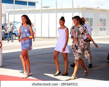 VENICE, ITALY - JUNE 19: The First Lady Michelle Obama with daughters leave from Venice Airport in Venice, Italy 19 June 2015
