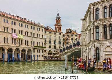 Venice, Italy - June 24, 2018: Rialto bridge in Venice.