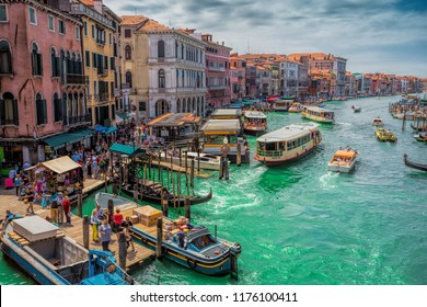 VENICE, ITALY - JUNE 26: View of the Grand Canal from the Rialto Bridge.