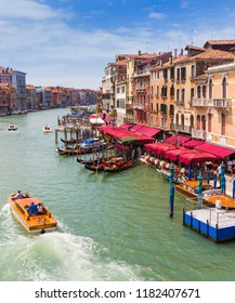 VENICE, ITALY - JUNE 26: View of the Grand Canal from the Rialto Bridge. Venice