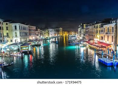 VENICE, ITALY - JUNE 30: View from Rialto bridge on June 30, 2013 in Venice, Italy. Rialto is the biggest bridge in Venice