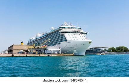 Venice, Italy - Junye 01, Regal Princess, Royal class cruise ship owned by Princess Cruises, port of  Venice June 01, 2014