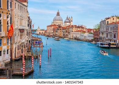 Venice Italy landscape. Beautiful view on Grand Canal with Basilica di Santa Maria della Salute. Venezia cityscape