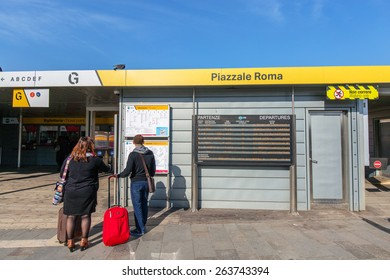 VENICE, ITALY - MAR 18 - ACTV ticket office Station Piazzale Roma on Canal Grande on Mars 18, 2015 in Venice, Italy.