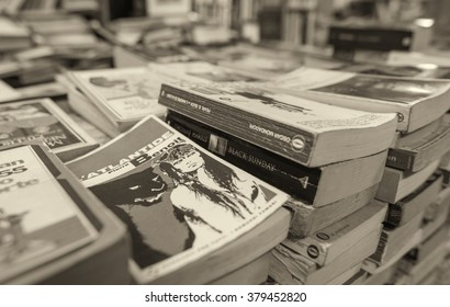 VENICE, ITALY - MAR 22, 2014: Old books of Acqua Alta bookstore. This is one of the most famous used bookstore in the world.