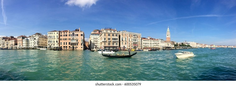 VENICE, ITALY - MARCH 02, 2017: a gondola on the Grand Canal