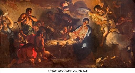 VENICE, ITALY - MARCH 12, 2014: The Adoration of shepherds by Antonio Vassilacchi nickname l'Aliense (1556 - 1629) from Chiesa di San Zaccaria church.