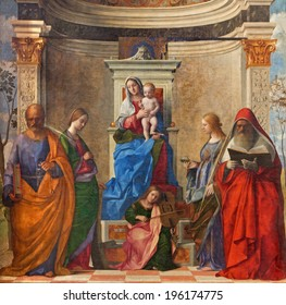 "VENICE, ITALY - MARCH 12, 2014: ""Sacra conversazione"" by Giovanni Bellini (1505) from Chiesa di San Zaccaria church."