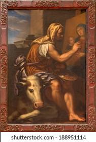 VENICE, ITALY - MARCH 13, 2014: Paint of st. Luke the evangelist in church Santa Maria della Salute by Antonio Triva da Reggio (1626 - 1699).