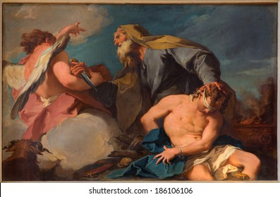 VENICE, ITALY - MARCH 14, 2014: Sacrificio di Isacco (Abraham and Isaac) by G. B. Pittoni (1713) in church San Francesco della Vigna