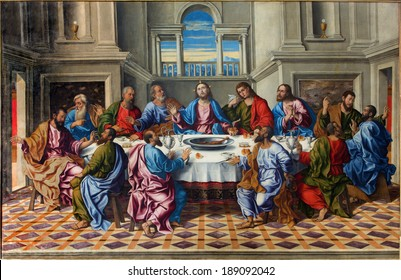 "VENICE, ITALY - MARCH 14, 2014: The Last supper of Christ ""Ultima cena"" by Girolamo da Santacroce (1490 - 1556)  in church San Francesco della Vigna."