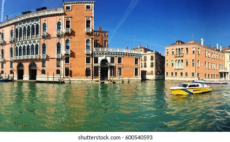 VENICE, ITALY - MARCH 2, 2017: the boar on the Grand Canal