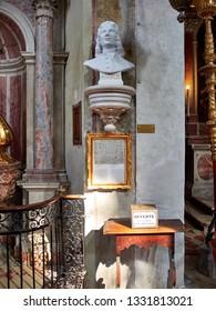 Venice, Italy - March 2, 2019 Bust of Vivaldi in Carrara Marble inside of San Giovanni in Bragora Church.