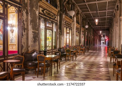 Venice, Italy - March 20, 2018: Cafe Florian is a coffee house located on Piazza San Marco in Venice. It is a major tourist attraction due to its central location and the traditional Italian style