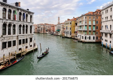 Venice, Italy - March 29: View of the Grand Canal in Venice from the Rialto bridge Ponte di Rialto on March 29, 2010 in Venice.