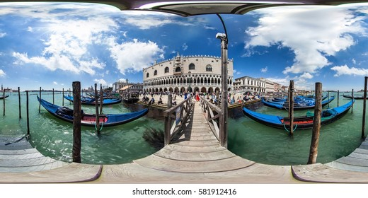 Venice / Italy - March 6, 2013. Full 360 equirectangular spherical panorama view ofgondola in the water and Piazza San Marco in Venice. Virtual reality content