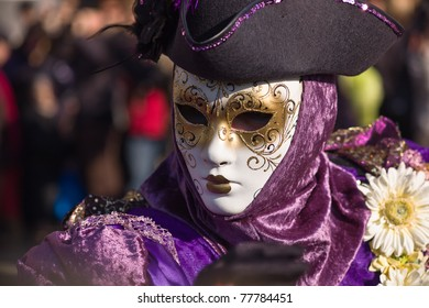 VENICE, ITALY - MARCH 8: glamorous costumes on the last day of the annual Venice carnival March 8, 2011 in Venice, Italy