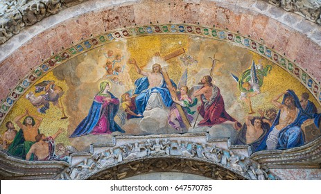 Venice, Italy- MAY 14, 2017: The ceiling of Saint Marks Basilica designed with mosaic in Venice Italy during 13th century.