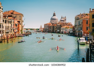 Venice, Italy - May 15, 2016: Racing rowing in the Venetian lagoon. The annual Vogalonga Regatta