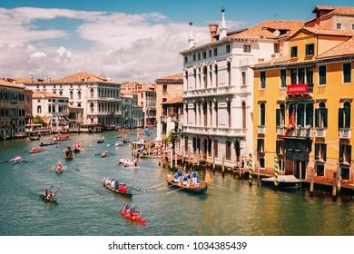 Venice, Italy - May 15, 2016: Racing rowing in the Venetian lagoon. The annual Vogalonga Regatta