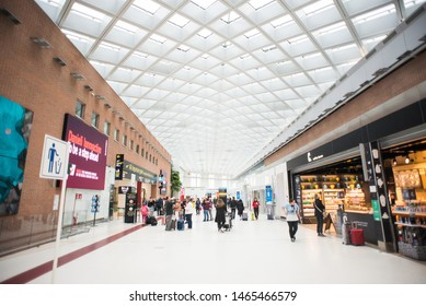 Venice, Italy- May 15, 2019: Interior of Marco Polo Airport in Venice. Airport Hall of Departures.