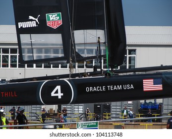 VENICE, ITALY - MAY 18: Team Korea AC45 catamaran in the team bases area is going to be moved in the sea for tests during the America's Cup first races days in May 18, 2012 in Venice, Italy.