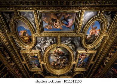 Venice, Italy - May 20, 2017: Interior of Doge`s Palace (Palazzo Ducale), detail of ceiling. Doge`s Palace was built in 15th cent on St Mark`s Square and is one of main tourist attractions of Venice.