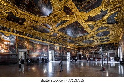 Venice, Italy - May 20, 2017: Interior of the Doge`s Palace (Palazzo Ducale), the Higher Council Hall. Doge`s Palace is one of the main tourist attractions of Venice.