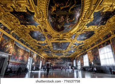 Venice, Italy - May 20, 2017: Interior of the Doge`s Palace (Palazzo Ducale), panorama of the Higher Council Hall. Doge`s Palace is one of the main landmarks of Venice. People visit the Doge`s Palace.