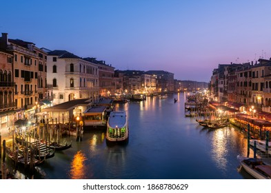 Venice - Italy , May 2020 Panoramic view of Grand canal from Rialto Bridge during sunset.(Ponte di Rialto) is one of the main tourist attractions of Venice.