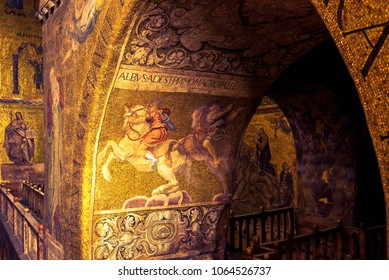Venice, Italy - May 21, 2017: Interior of Basilica di San Marco in Venice. It is one of the best-known sights of Venice. Beautiful ancient mosaic inside the San Marco or St Mark`s Basilica in Venice.